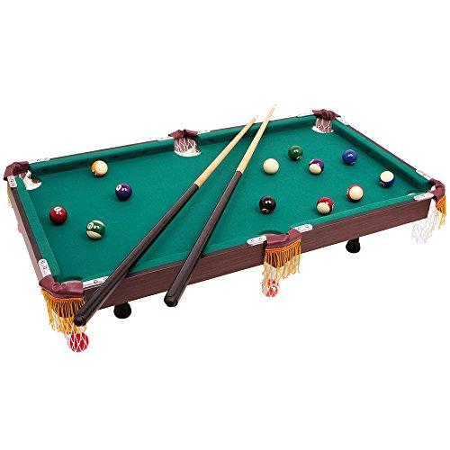 Billardtisch im klassischen Design, mit 2 hölzernen Queues samt passender Keide und Billiardkugeln mit Triangel