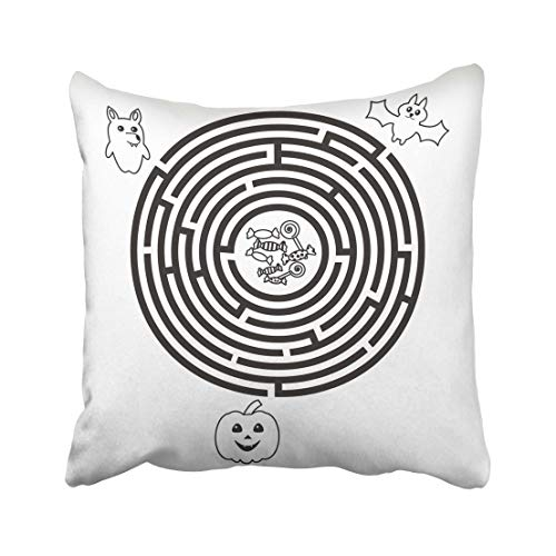 Emvency Quiz Circular Halloween Maze for Preschool School Kids Funny Labyrinth with Pumpkin Wolf and Bat Round Throw Pillow Covers 20x20 Inch Decorative Cover Pillowcase Cases Case Two Side -