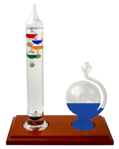 Ambient Weather Galileo Thermometer and Glass Globe Fluid Barometer