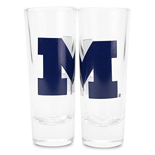 Boelter NCAA Color Team Logo 2oz Cordial Shot Glass 2-Pack (Michigan Wolverines) (Michigan Shot Glass)