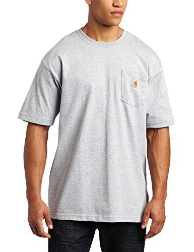 Heavy Cotton Pocket - Carhartt Men's 'K87' Workwear Pocket Short-Sleeve T-Shirt, Heather Grey, Large