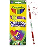 Crayola Erasable Colored Pencils, 10 Non-Toxic, Pre-Sharpened, Fully Erasable Pencils Colored Pencil Set for Adult Coloring Books or Kids 4 & Up, Great for Shading, Gradation, Line Art & More