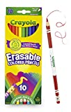 Toys : Crayola Erasable Colored Pencils, 10 Non-Toxic, Pre-Sharpened, Fully Erasable Pencils Colored Pencil Set for Adult Coloring Books or Kids 4 & Up, Great for Shading, Gradation, Line Art & More