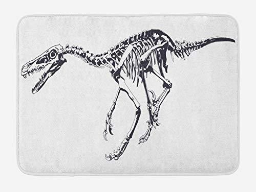 (Ambesonne Dinosaur Bath Mat, Skeleton Prehistoric Wild Animal Raptor Predator Bones Extinct Species Archeology, Plush Bathroom Decor Mat with Non Slip Backing, 29.5