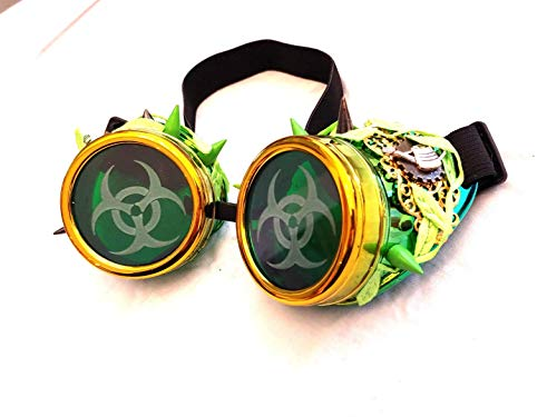 Steampunk Poison Ivy Green Goggles Cosplay Costume]()