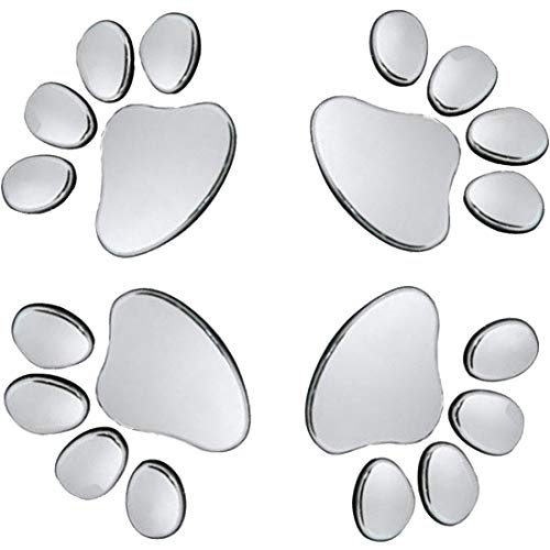 (Oun Nana 3D Chrome Dog Paw Footprint Sticker Decal Auto Car Emblem Decal Decoration)
