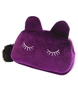 AchidistviQ Trousse Portable Cartoon Cat Coin Storage custodia da viaggio trucco sacchetto morbido Burgundy
