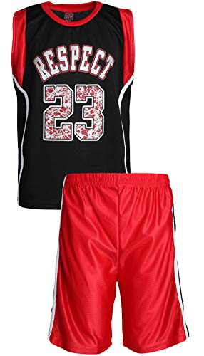Mad Game Boys' 2-Piece Basketball Athletic Tank Top and Shorts Set, Black/Red Respect, Size 12/14'