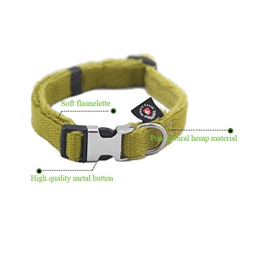 Buckle Khaki (Bonawen Super Soft Hemp Dog Collar with Metal)