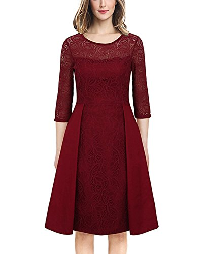 Tempt me Women Vintage Floral Lace Cocktail Flare Swing Wedding Guest Midi Dress Red 2XL