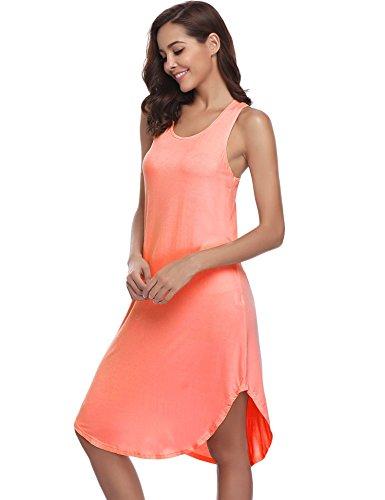 da lunga da Camicia maniche arancione notte manica cotone Abbigliamento in pigiama casa abbigliamento confortevole senza Leggero donna Abito Aibrou morbido q4RW1t5dwq