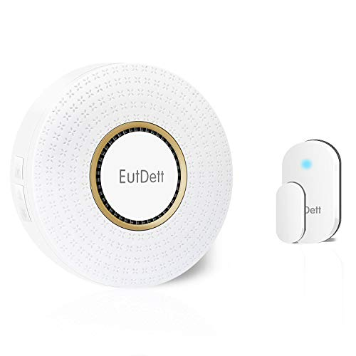 Door/Window Alarm, EutDett Wireless Door Chime Operating Range 600FT/52Chimes/4 Volumes/LED Indicator, 1 Magnetic Door Sensor & 1 Plugin Receiver for Home Security/Business/Garage (DS-B16) by EutDett