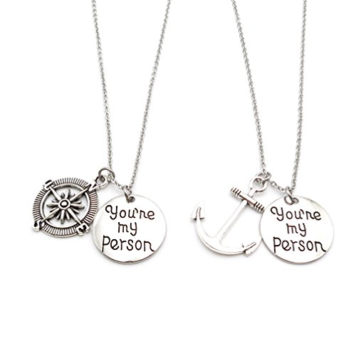 IDLAN 2pc You are My Person Compass Anchor Necklace Best Friend BFF Gift