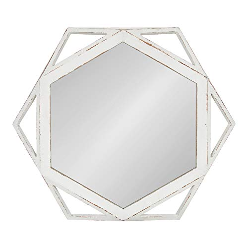Kate and Laurel Cortland Rustic-Modern Geometric Octagon Shaped Wood Accent Wall Mirror, Distressed Antique White, 24×27-inches