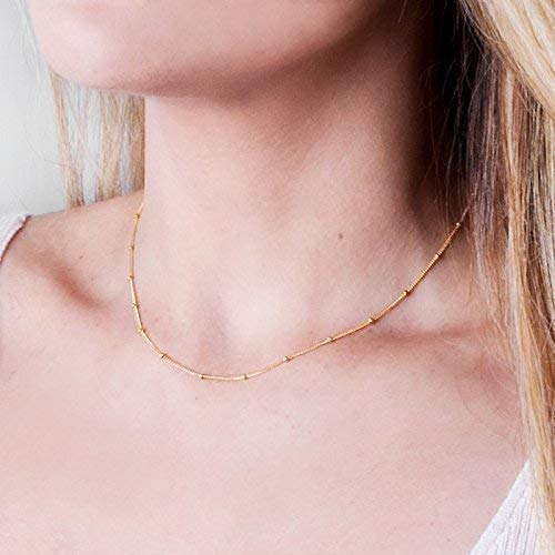 Gold 14k Choker Necklace (Dainty 14k Gold Filled Necklace - Designer Handmade Satellite Bead Choker Chain 15 + 2 inch Extender)