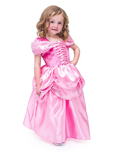 [Little Adventures Satin Pink Beauty Girls Princess Costume - Large (5-7 Yrs)] (Jasmine Princess Costume For Kids)