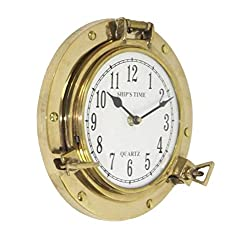 Firefly Home Collection Brass Porthole Clock, 8.5
