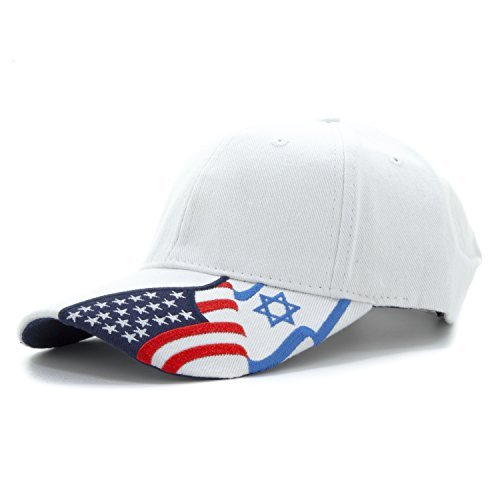 Embroidered USA and Israel Flags on The Bill of The Cap Unisex Adjustable Baseball Cap Hat Unisex Support The Israel