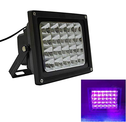 LUMINTURS 20W UV LED Blacklight Outdoor Exterior Flood Lamp Fixture Waterproof Curing Plant Glow Dance Party Black