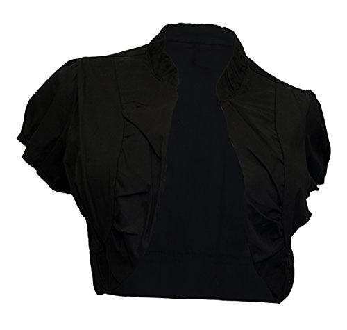 EVogues Plus size Cotton Open Front Cropped Bolero Shrug Black - 2X