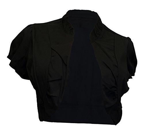EVogues Plus size Cotton Open Front Cropped Bolero Shrug Black - 2X