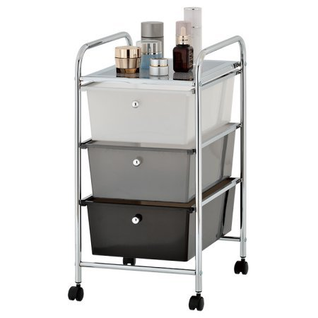 Urban Shop Plastic 3 Drawer Rolling Organizer Storage Cart, Multi