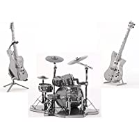 3D Metal Puzzle Models Of Drum Kit, Bass Guitar and Lead...