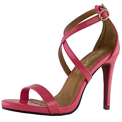 DailyShoes Women's High Heel Sandal Open Toe Ankle Buckle Cross Strap Platform Pump Evening Dress Casual Party Shoes, Fuchsia PT, 5 B(M) US