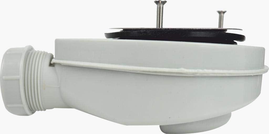 Sif/ón para plato de ducha de 90 mm de di/ámetro con Aro Acero Inox 3 Tornillo Con Contenedor de Residuos VAROBATH V/álvula de Desag/üe para Platos de Ducha de Resina y Pizarra