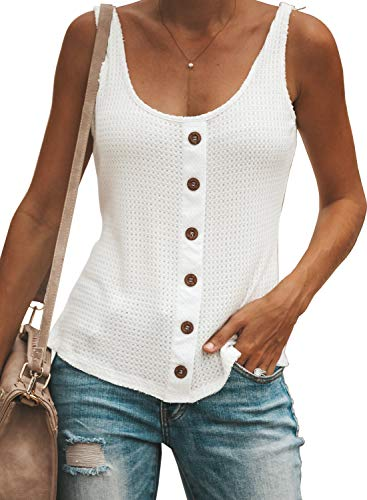 Happy Sailed Women Button Down Summer Solid Vests Casual Sleeveless Tanks Tops L White