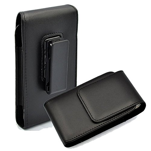 Kingsource Vertical Leather Case Holster Pouch with Rotating Belt Clip Compatible for Apple iPhone 6 iPhone 6S iPhone 7 iPhone 8 Color Black ()