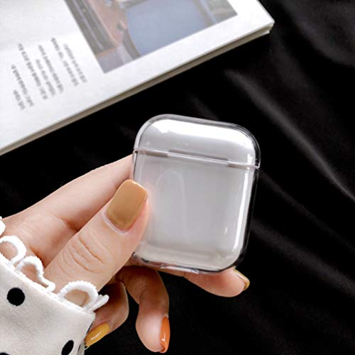 (Airpods Case, AirPods Accessories Shockproof Case Cover Portable & Protective Hard Cover Case for Apple Airpods 2 &1 (Front LED Visible) - Clear)