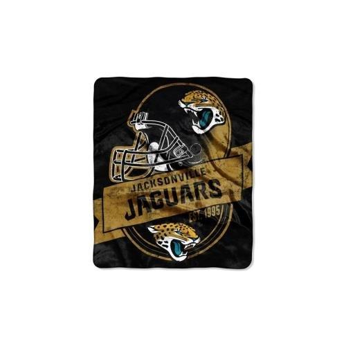 Officially Licensed NFL Jacksonville Jaguars Grand Stand Plush Raschel Throw Blanket, 50