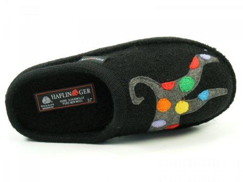 Haflinger Schuhe Damen Hausschuhe Pantoffeln Wolle Flair Felix 313034 Schwarz