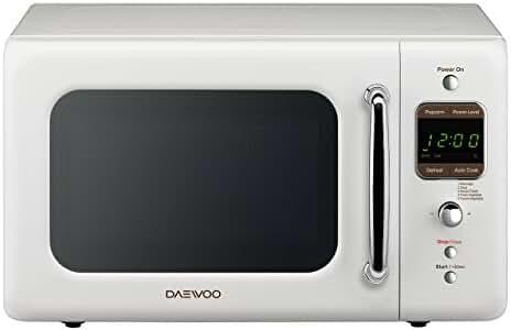 Daewoo Retro Microwave Oven, 700W, 0.7 cu. ft., Crème White