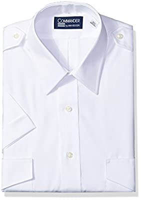 Van Heusen Mens Dress Shirts Short Sleeve Pilot Shirt Solid Spread Collar