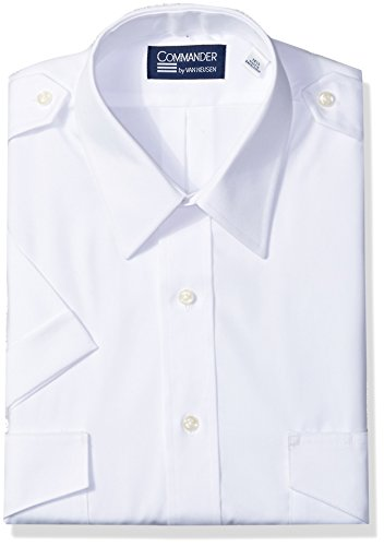 Van Heusen Men's Dress Short Sleeve Pilot Shirt, White, 16.5