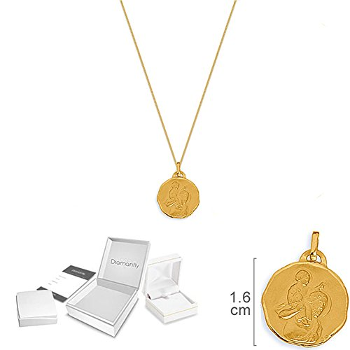 DIAMANTLY medaille Saint-Christophe et chaine or 45 cm