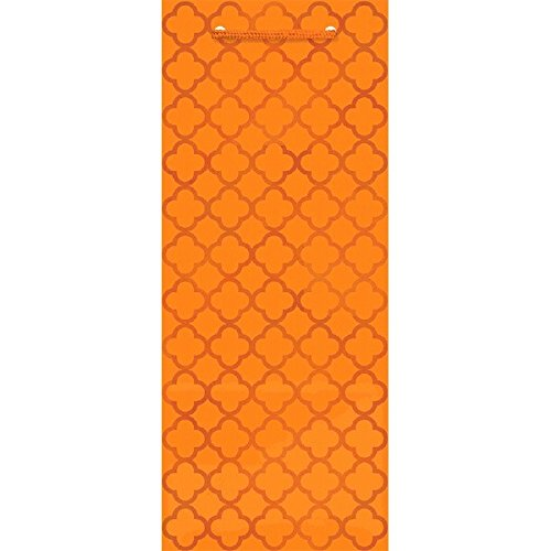 Amscan 168018.05 Glossy Bottle Bag, 12 7/8 x 5 1/4 x 3 3/16 Inches, Orange - Bottle Bag Glossy