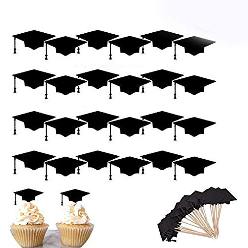 Unetox Cake Toppers Cupcake Toppers Graduation Hat Cap 24Pcs Graduation Party Grad Decorations Supplies