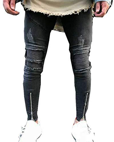 Casual Slim Skinny Haidean Da Stretti Vestibilità Slim Nero Uomo Moderna Pantaloni Jeans Casual p0Rgwq4RX