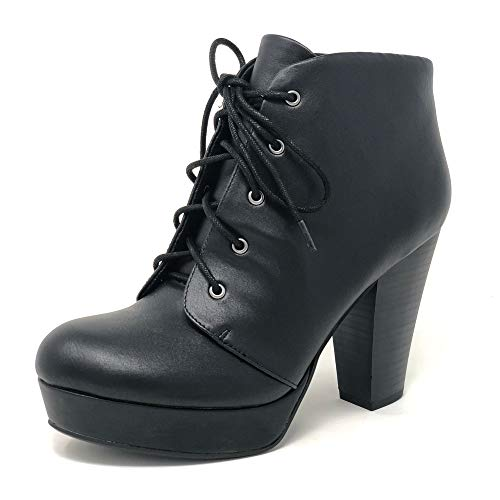 SODA Women's Agenda Ankle Lace Up Platform Chunky Heel Ankle Bootie (9 M US, Black PU New) (Black Lace Up Ankle Boots With Heel)