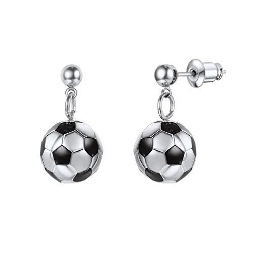 - PROSTEEL Soccer Drop Earrings Stainless Steel Football Charm Dangle Ball Earrings for Girl Women Jewelry Gift