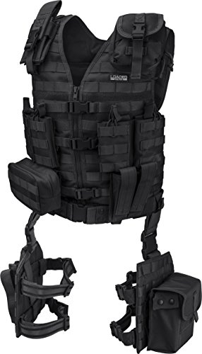 Loaded Gear Tactical Vest Light Outdoor Training Vest and Leg Platforms for Adults ... (Black)