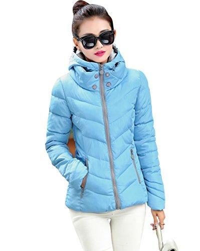 Parka Cotton con Giù Trapuntata Giacca con Invernale Cappuccio Abbigliamento Blu Donna Cappotto Cielo qTatXx