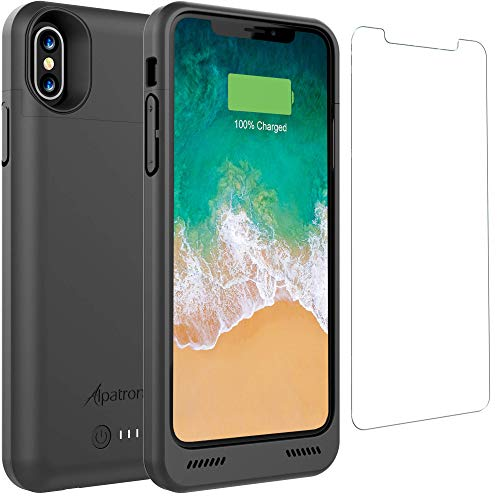 iPhone X/XS Battery Case Qi Wireless Charging Compatible, Alpatronix BXX 5.8-inch 4200mAh Slim Rechargeable Extended Protective Portable Charger Case for iPhone X & XS Juice Bank Power Pack – Black