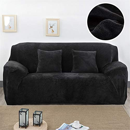 Plush Fabirc Sofa Cover 1/2/3/4 Thick Slipcover Couch Sofacovers Stretch Elastic Sofa Covers Towel Wrap Covering Black 1 seat 90-140cm