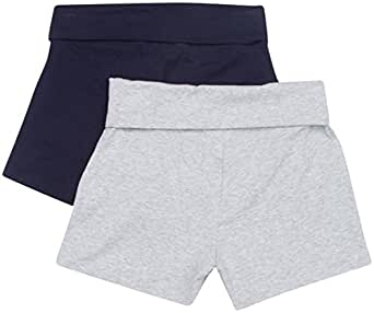 NEW Womens Stretch Exercise Fold over Yoga Contrast waistband Shorts,Small,Navy-Heather Gray: 2PK