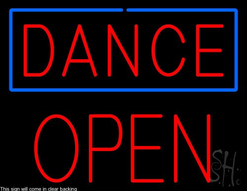 Dance Block Open Clear Backing Neon Sign 24'' Tall x 31'' Wide by The Sign Store