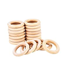 eBoot 20 Pack 55mm Wood Rings Wooden Rings for Craft, Ring Pendant and Connectors Jewelry Making